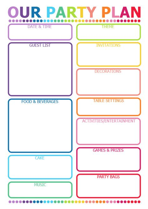 5 best images of party event printable planner party 6 best images of free printable party planner free