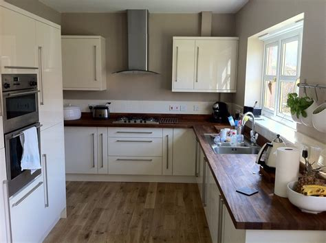 B And Q Kitchen Cabinets Oak Cabinets Walnut Floor Another B Q Kitchen With Walnut Worktops And Oak Solid Oak Flooring