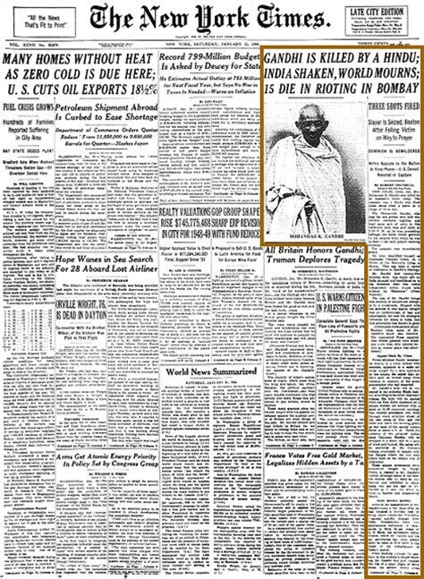 mahatma gandhi biography article new york times reporting on mahatma s assassina ode