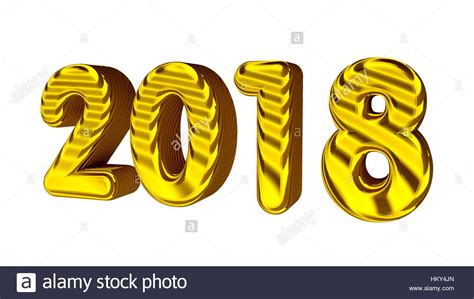 new year 2018 number new year 2018 3d golden numbers with texture isolated on