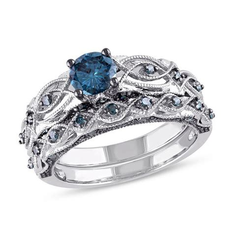ct tw enhanced blue diamond vintage style bridal set