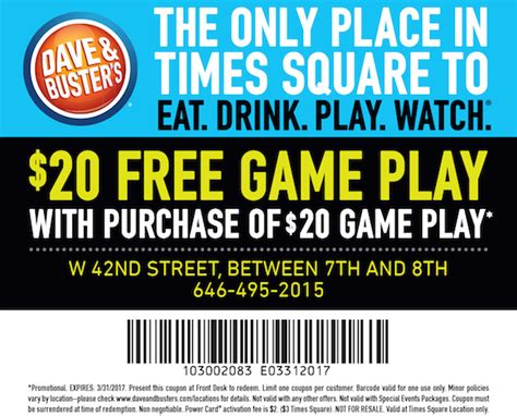 dave and busters printable food coupons los angeles guide los angeles