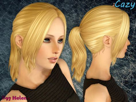long hair with bangs sims2 small ponytail with long bangs hairstyle helena by cazy