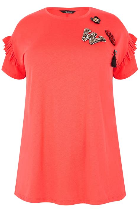 limited collection coral embellished t shirt with frill