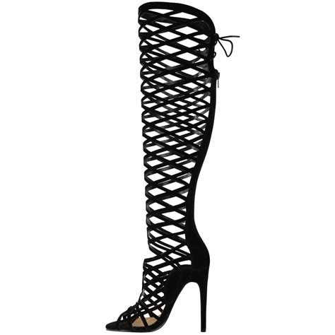 knee high sandals heels womens cut out lace knee high heel gladiator boots