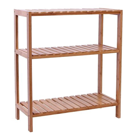 Bamboo Bathroom Shelving Songmics 5 Tier Bamboo Bathroom Shelf Unit Storage Stand Shelves Realie