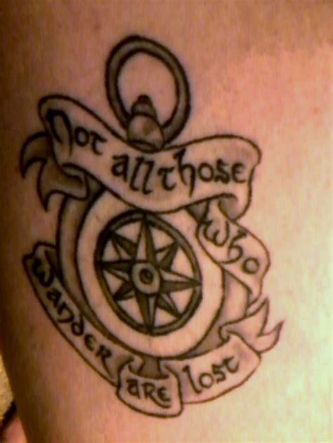 lost tattoos not all who wander are lost compass