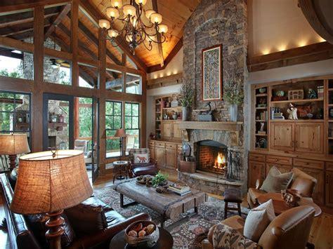rustic great room  built  bookshelf  joe folsom