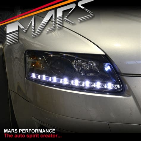 audi a6 c6 led headlights black day time drl led projector lights for audi a6