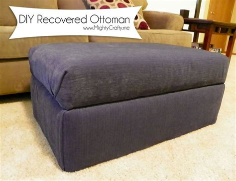 Diy Footstool Ottoman Diy Recovered Ottoman Www Mightycrafty Me Diy Ottoman Diy And Crafts Ottomans