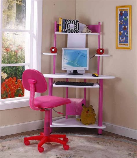 Child Corner Desk Brand Pink Finish Corner Workstation Children S Computer Desk Computer Desks For