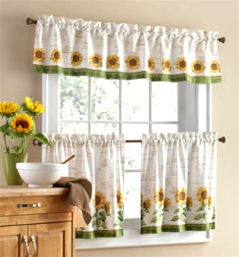 sunflower curtains window treatments 3 pc sunflower theme curtains 2 tiers with valance kitchen