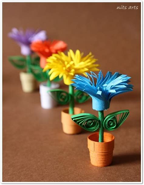Paper Craft Flower Pot - proper and pretty paper quilling ideas bored