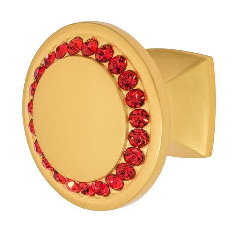 red crystal cabinet knobs wisdom stone isabel 1 1 4 in satin gold with red crystal