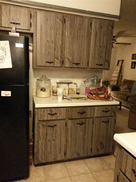 barn wood kitchen cabinets what would you do with these fake barn wood cabinets hometalk