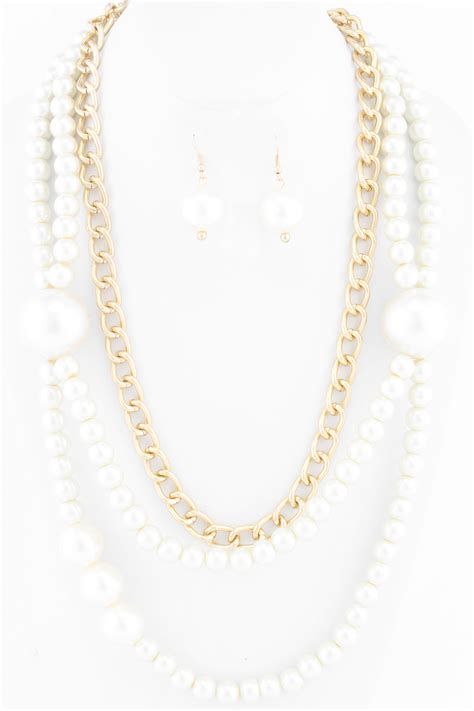 pearl layered necklace layered pearl and chain link necklace set necklaces