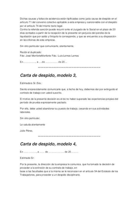 ejemplo carta de despido laboral carta de despido