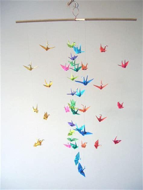 Origami Crane Mobile For Sale - origami crane mobile rainbow colors googly by