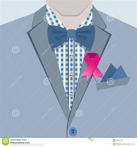 Collar Shirt With Bow Tie Blue up of fashionable in blue suit and pink ribbon pin on collar stock vector image