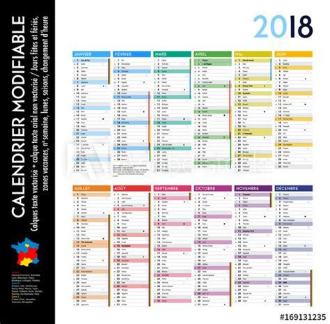 Calendrier 2018 Par Semaine Calendrier 2018 Sur 12 Mois Modifiable Avec Calques Textes