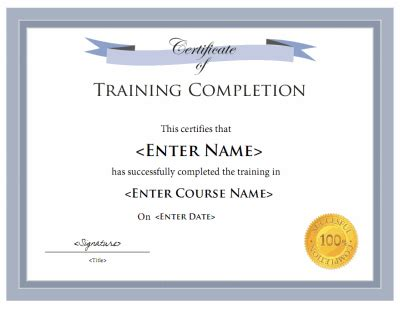 free templates for training certificates training certificate template