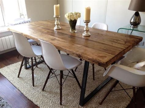 Rotunda Dining Table With Chairs Vintage Industrial Dining 6ft Farmhouse Table Bench 4 Eames Chairs Included In Business