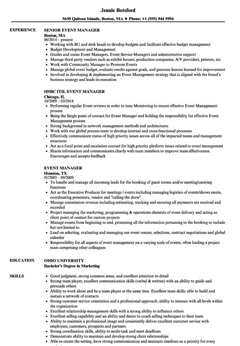 Event Manager Resume by Event Manager Resume Sles Velvet
