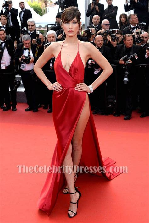 Taylor Carpet Tools by Bella Hadid Red Evening Dress Cannes 2016 Red Carpet