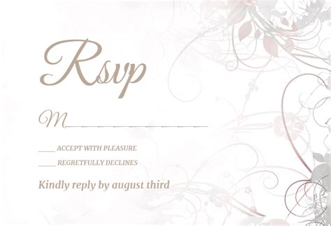 rsvp cards for dinner templates free floral swirls free printable response card template