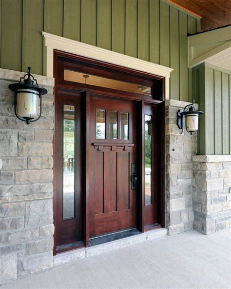 exterior front door lights dark stained front door entry craftsman with stone