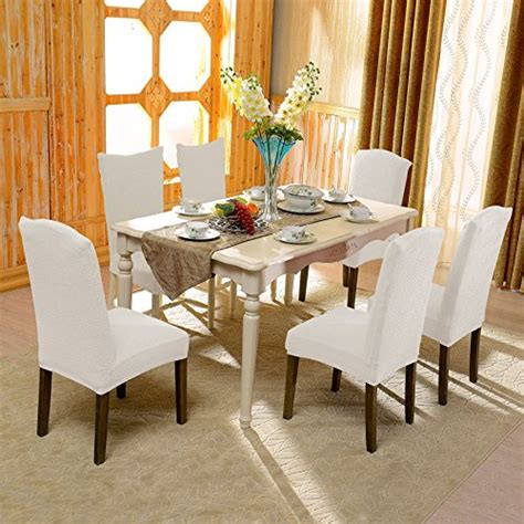 white dining room chair slipcovers subrtex jacquard stretch dining room chair slipcovers 4