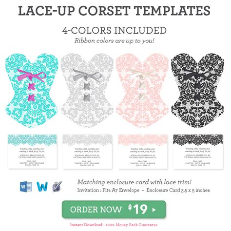 diy lace up corset invitation printable template