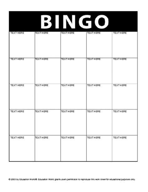 bingo card templates bingo card template casa larrate