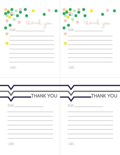 thank you card template with lines printable thank you notes for children free printable