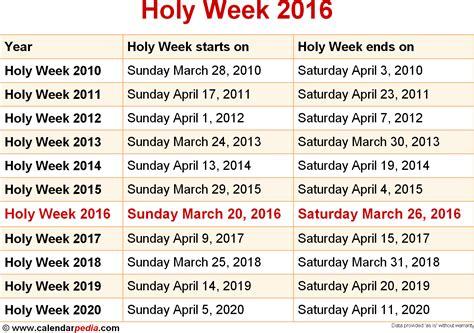 holy week calendar gallery