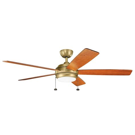 kichler ceiling fans with lights kichler lighting starkk natural brass led ceiling fan with