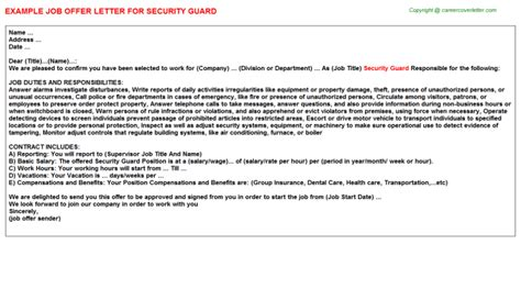appointment letter format security guard security guard offer letter sle