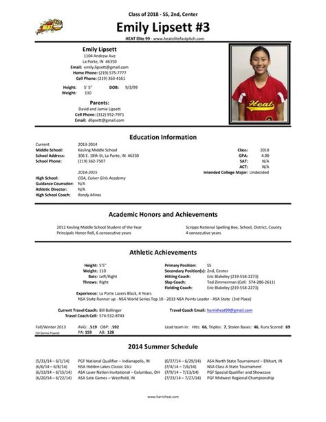 player profile sheet softball web library