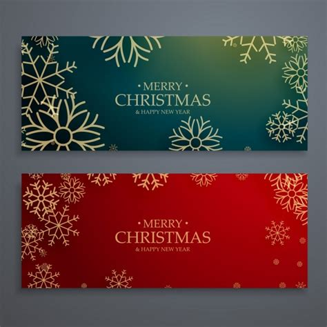 christmas banners  golden snowflakes vector