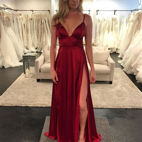 Bridesmaid Dresses With Slits Up The Leg - v neck satin burgundy evening dresses 2017
