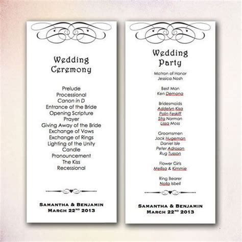 wedding program template microsoft word diy wedding program template instant microsoft