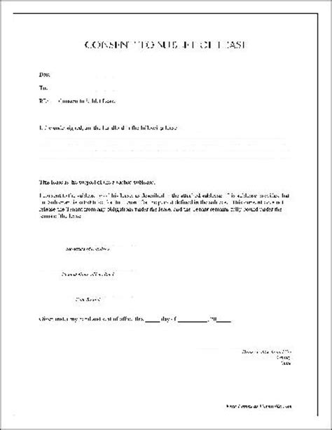 Lease Permission Letter free notarized consent to sublet of lease from formville