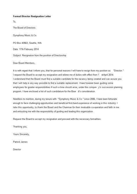 formal director resignation letter templates