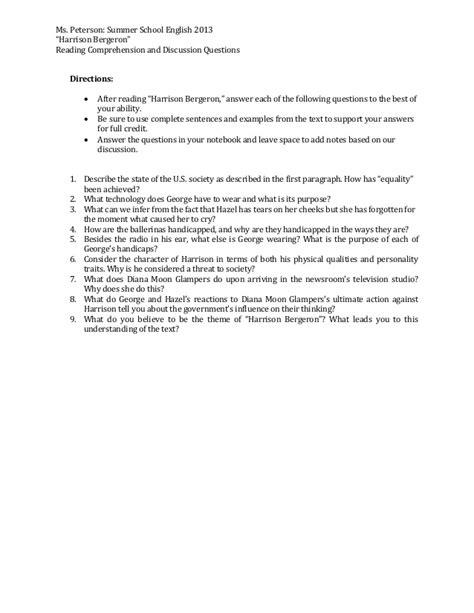 Harrison Bergeron Essay by College Essays College Application Essays Harrison Bergeron Essay Questions