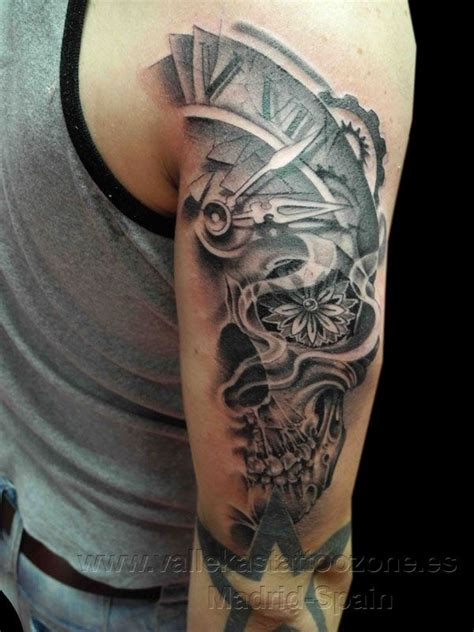 calavera tattoo designs half clock calavera skull tattoos on arm designs