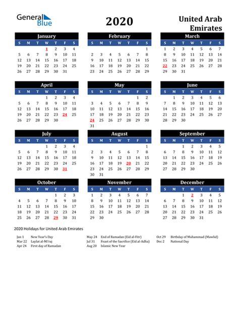 calendar united arab emirates  holidays