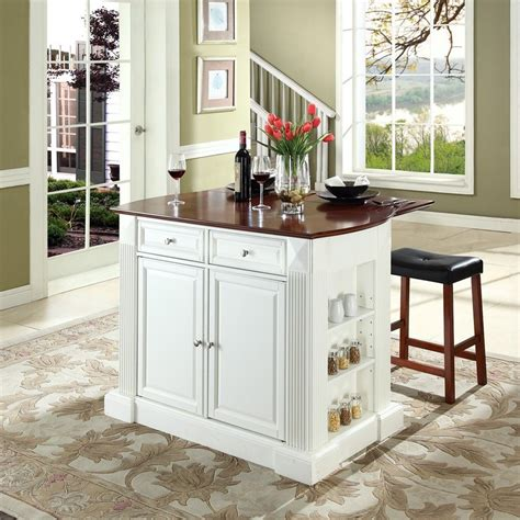 furniture islands kitchen shop crosley furniture white craftsman kitchen island with 2 stools at lowes