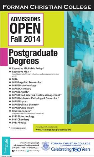 Phd Subjects After Mba by Admissions Open 2014 15 In Forman Christian College Lahore