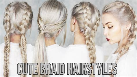 pretty easy hairstyles braids 3 cute easy braid hairstyles youtube