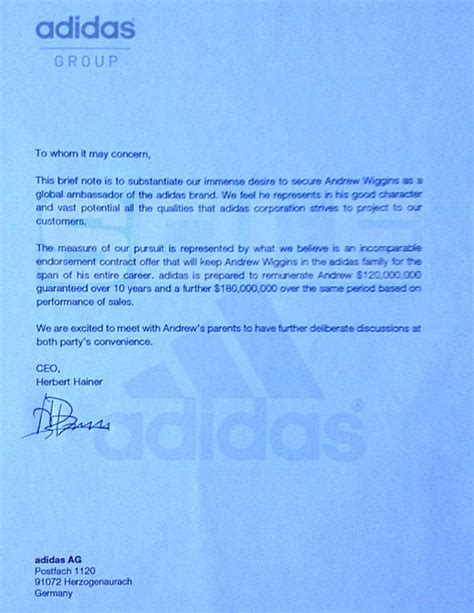 Endorsement Letter For Basketball Adidas Says Offer To Kansas Wiggins Is A Hoax Ncaa Basketball Sporting News